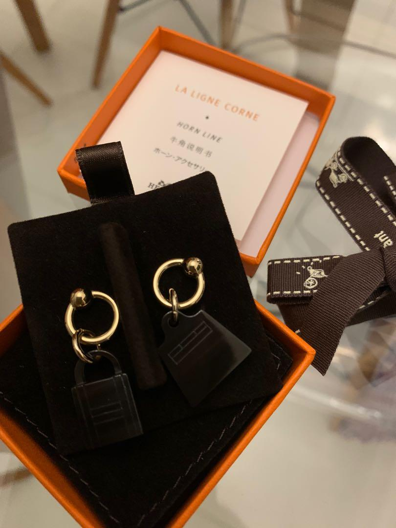 Europe New released- brand new Hermes Kelly bag/ lock natural horn earrings  match with birkin Kelly or constance