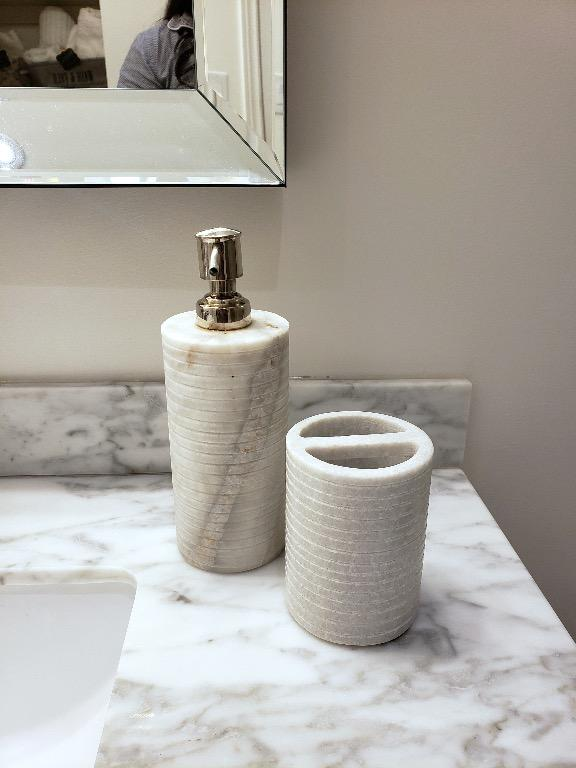 Heavy Marble Soap Dispenser & Toothbrush Holder Set