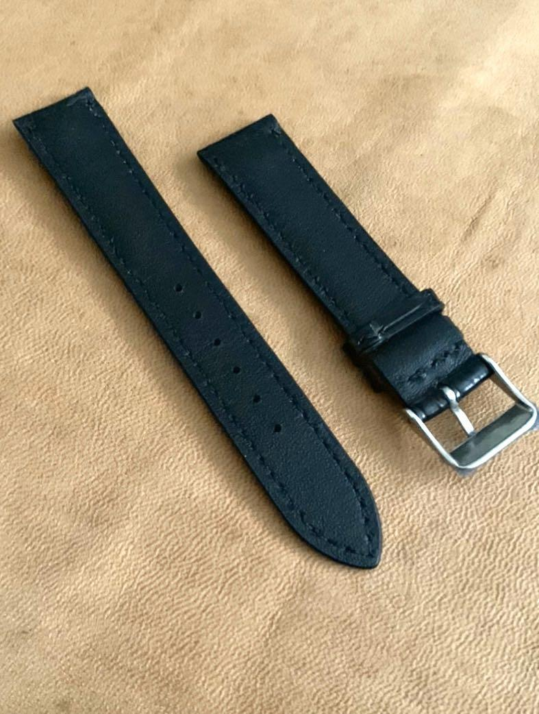 18mm/16mm Ebony Black Alligator Crocodile Watch Strap  18mm@lug/16mm@buckle   18mm/16mm      Standard length: L-120mm, S-75mm