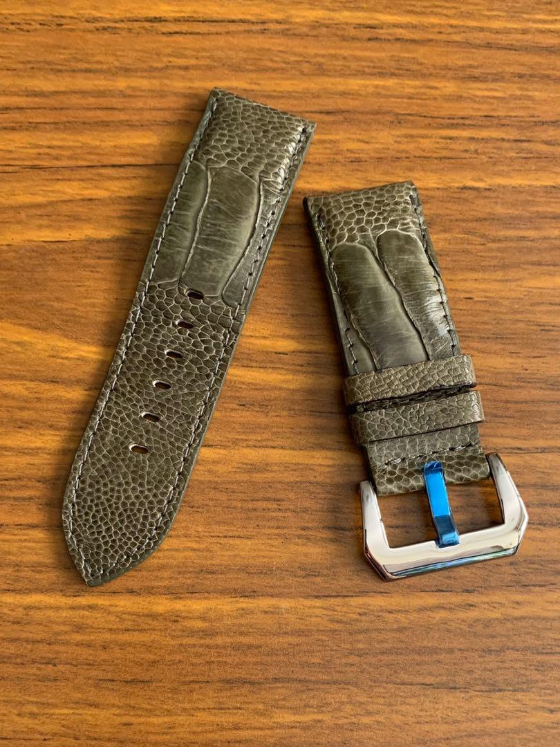 26mm/26mm Authentic Olive Green Ostrich Leg Leather Watch Strap (once sold- no more 😊) Standard Length- L:120mm, S:75mm