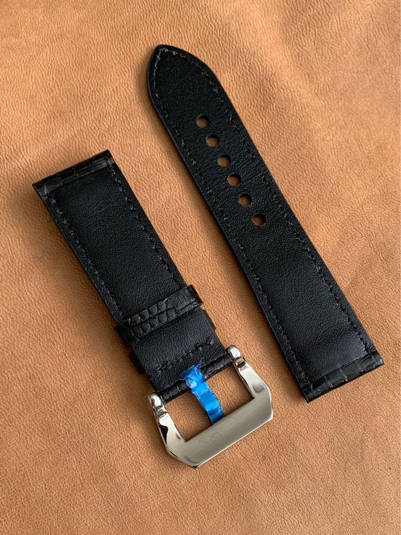 24mm/22mm Black Teju Lizard Leather Watch Strap 24mm@lug/22mm@buckle   Standard length:L-120mm,S-75mm (only one piece left, no more in supply 👍🏻😊)