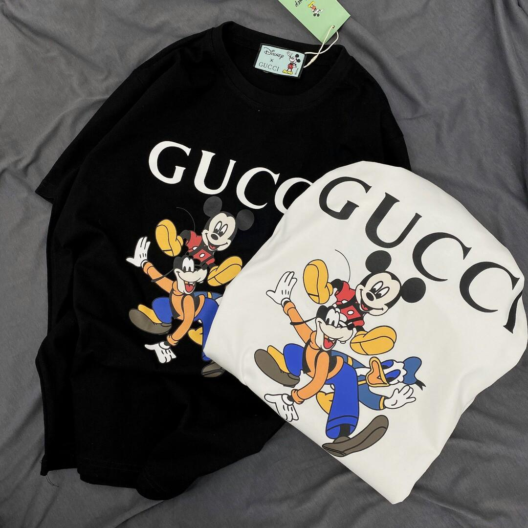 Number mickey Donald cartoon short sleeve with double yarn smooth cotton men and women with money