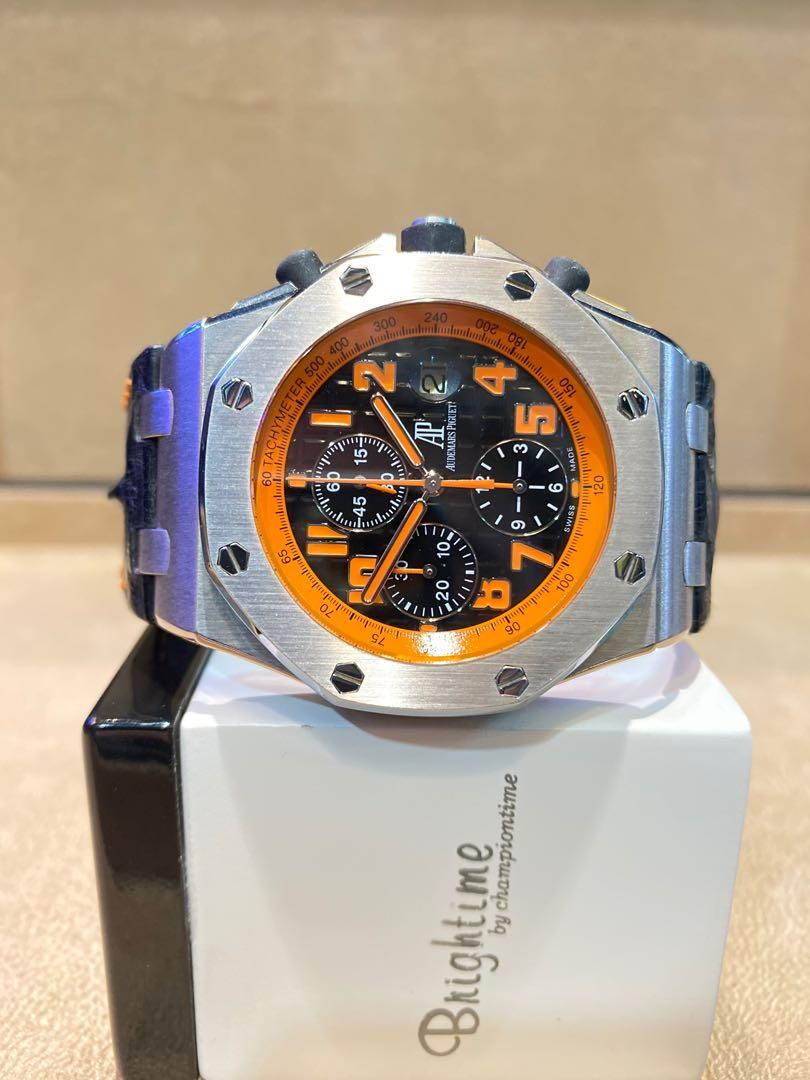 "Pre Owned Audemars Piguet Royal Oak Offshore 26170ST ""Volcano"" Black Dial Automatic Steel Casing Leather"