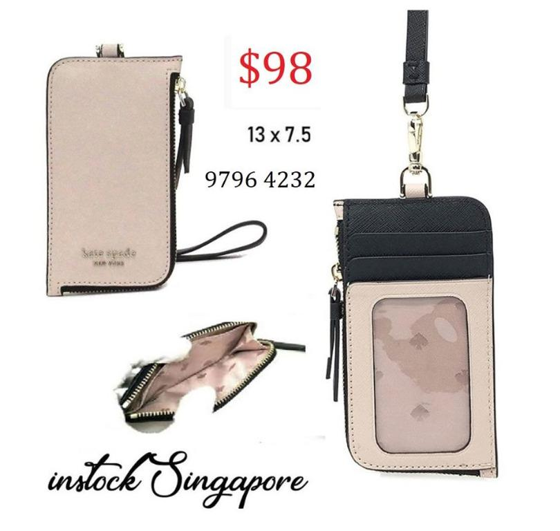 READY STOCK authentic new  Kate Spade Cameron Card Case Lanyard ID Holder Leather Credit Card WLRU5454