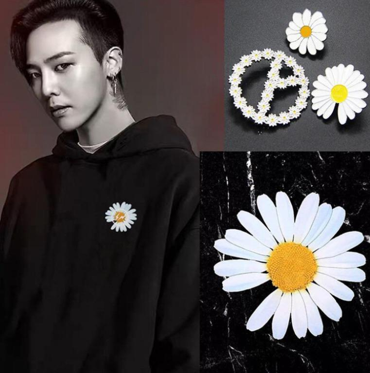 🔥Ready Stock🔥 Kpop Bigbang GD G-Dragon Peaceminusone Badge Brooch Pin Daisy Flower Metal Embroidered Badge Sneakers