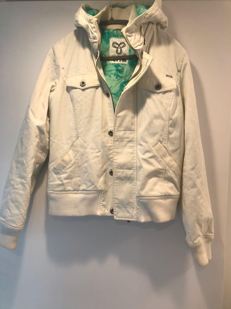 TNA Aritzia White Zip Up Canvas Jacket Size Medium