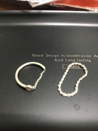韓國 純銀戒指 鏈戒