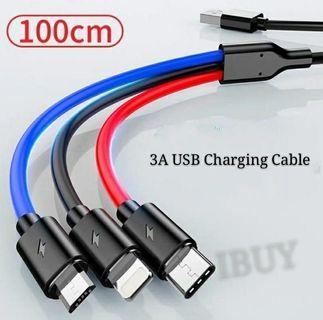 特價 1開3充電線 (Iphone/USB Type C/Micro USB)