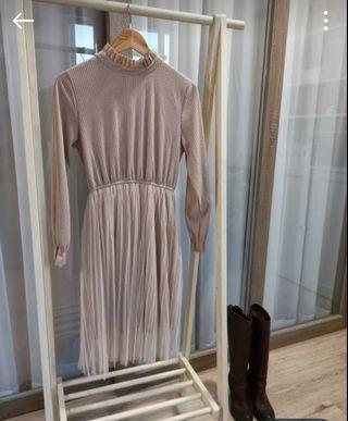 裸色帶紗 仙女氣質洋裝 #大地色 #喜酒裝 婚禮