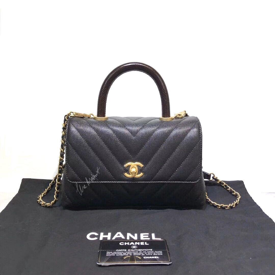 Authentic Brand New Chanel Coco Handle Small Black Caviar Leather Gold Hardware