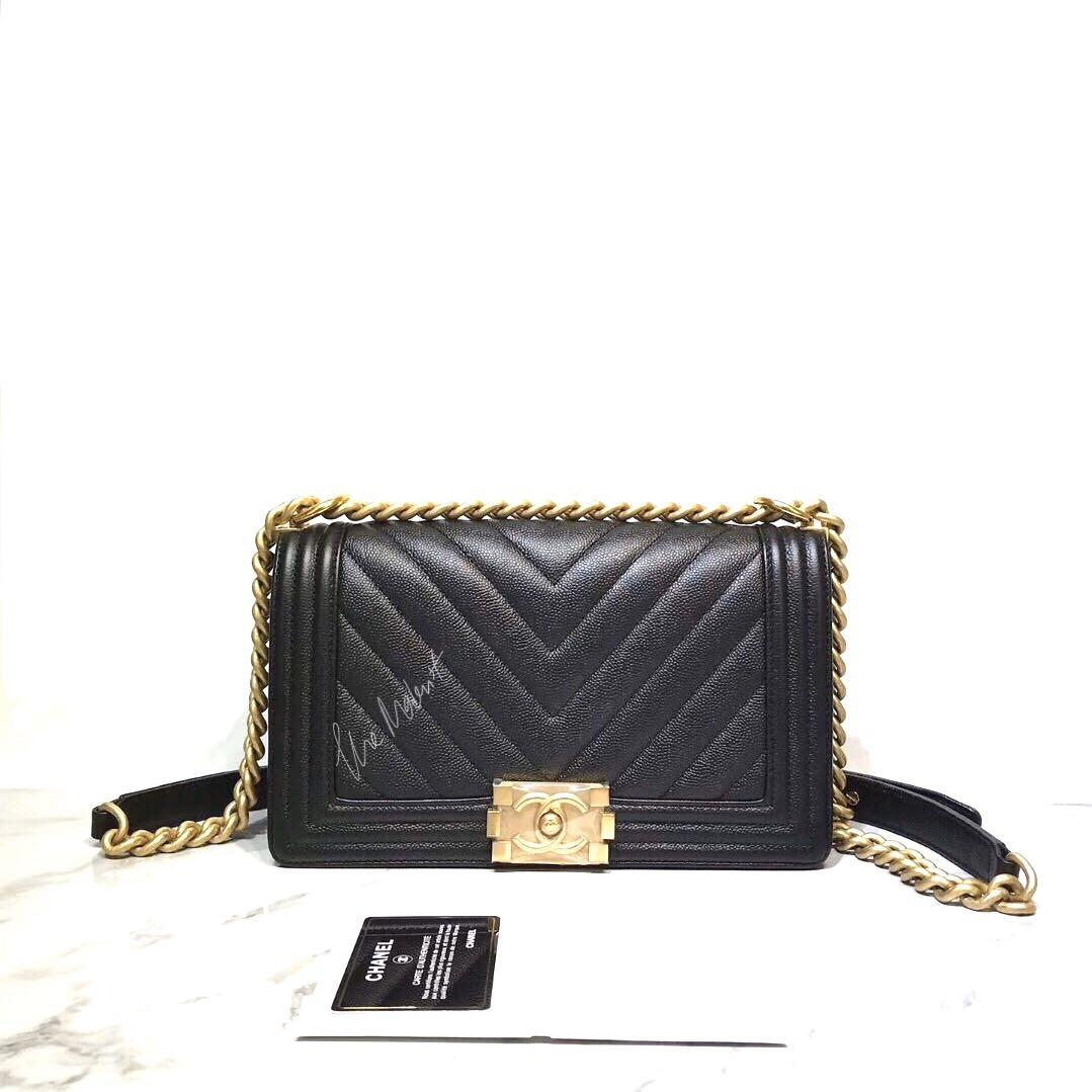 Authentic Brand New Chanel Medium Le Boy Bag Chevron Black Caviar Leather Gold Hardware