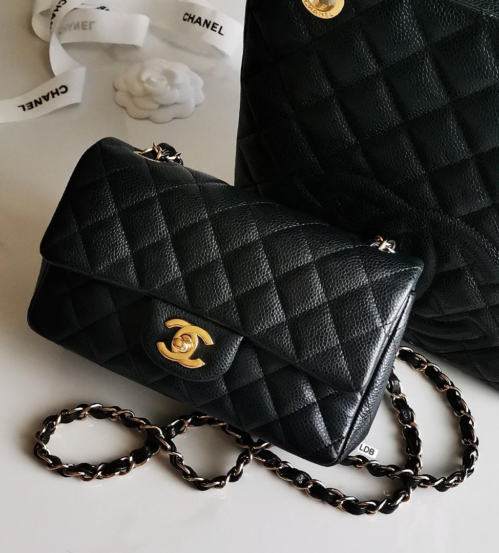 Authentic Chanel Classic Mini Rectangle Black Caviar with Gold Hardware