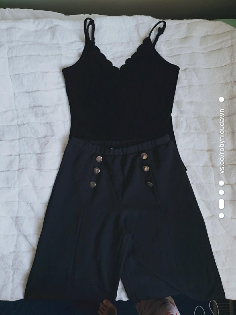 BUNDLE Black scalloped tank top / cami + black culottes / dress pants