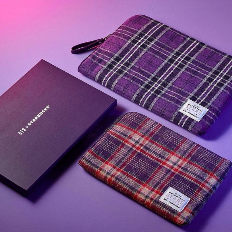 <Ready> BTS STARBUCKS MD Tartan Check Pouch - Large & Small