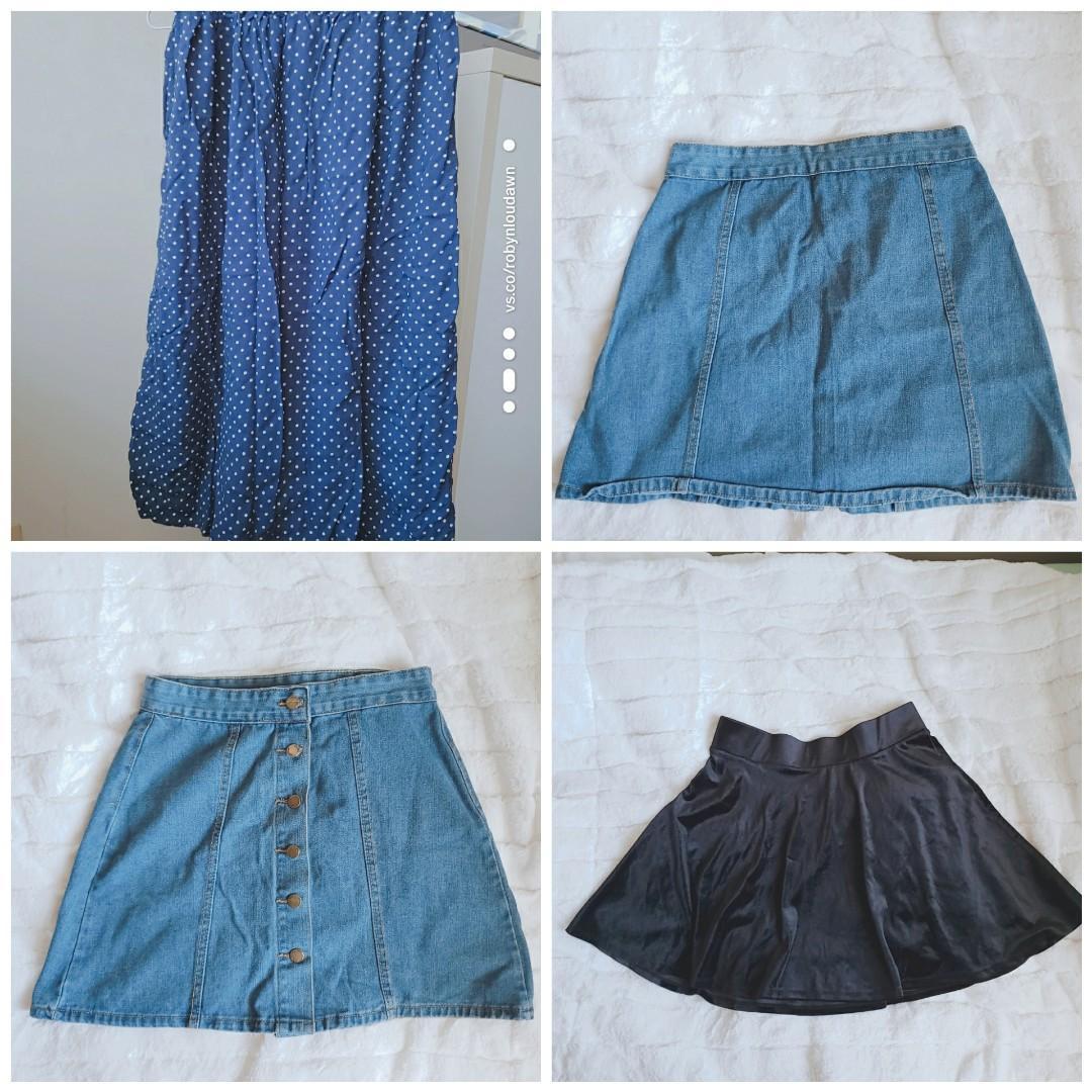 BUNDLE Denim skirt + black velvet skirt + navy polka dot midi skirt