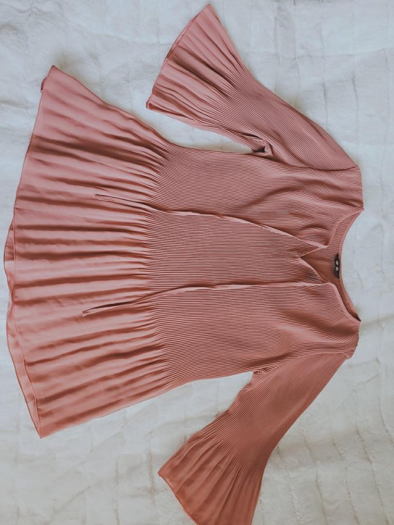 BUNDLE Dusty pink pleated shirt, Light pink chiffon blouse