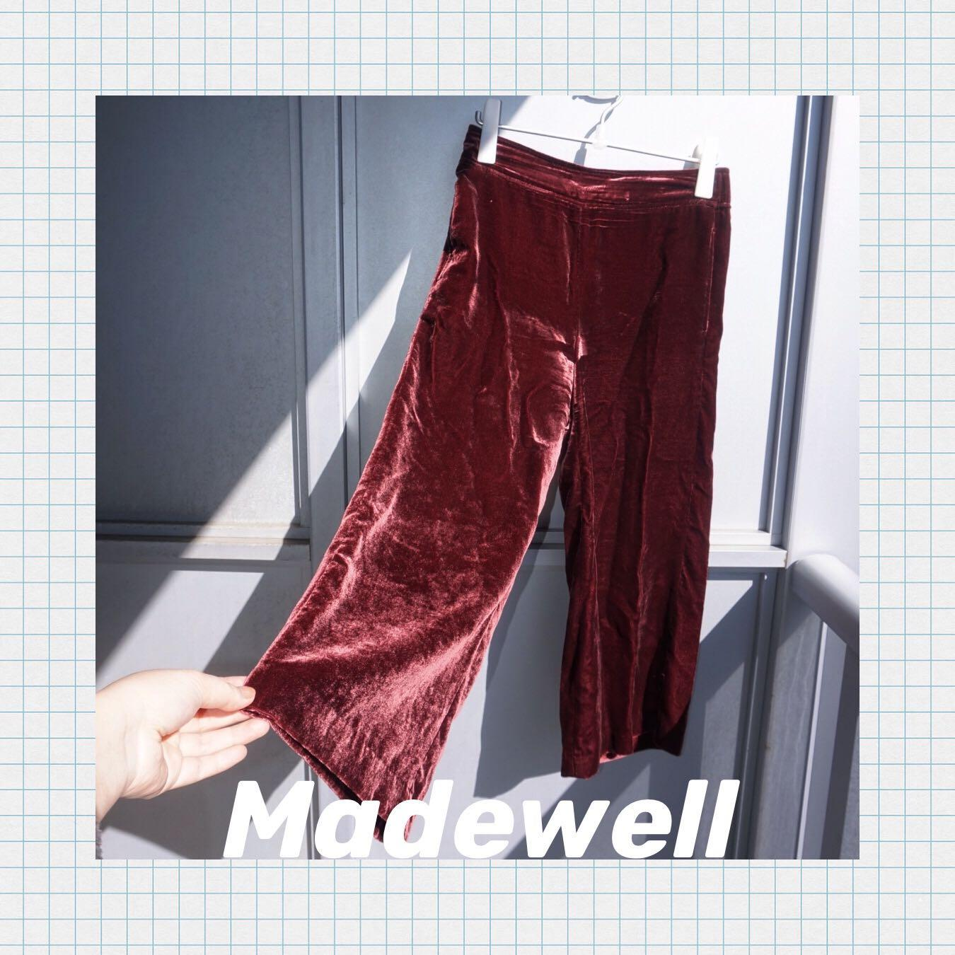 EUC Madewell Velvet Huston Pull-on Crop Pants Sz M