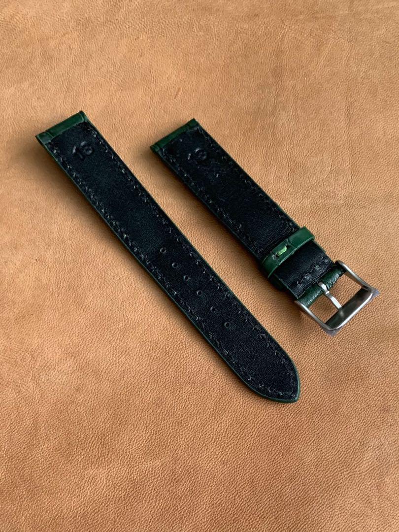 18mm/16mm Dark Green Alligator 🐊 Crocodile Watch Strap (once sold no more 👍🏻😊) 18mm@lug/16mm@buckle  18mm/16mm     Standard length:L-120mm,S-75mm