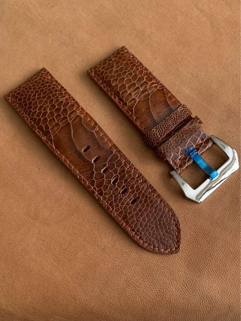 [DISCOUNTED] 26mm/26mm Cognac Brown Ostrich Leg Watch Strap 26mm@lug/26mm@buckle  26mm/26mm     (once sold no more🙏🏻😊) Length: L-118mm,S-73mm (big ostrich leg scales)