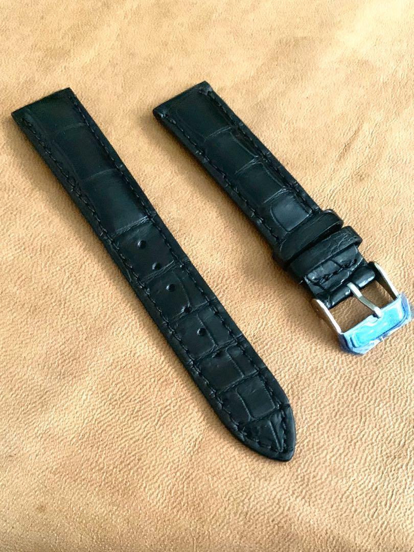 [DISCOUNTED] 18mm/16mm Ebony Black Alligator 🐊 Crocodile Watch Strap (once sold no more😊) 18mm@lug/16mm@buckle  18mm/16mm     Standard length:L-120mm,S-75mm - LAST SUCH STRAP - CB SALE!! 😊