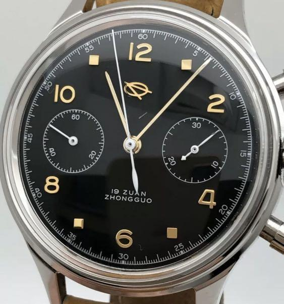 Authentic BN NOS 38mm Diameter Seagull Very Rare LIMITED PRODUCTION (ALL SOLD OUT NOW)👍🏻 Black Dial Golden Indices 2 sub-dials Chronograph (19 Zuan) (4 expensive matching exotic leather straps! leather pouch, cleaning cloth, tool) 47mm lug-to-lug