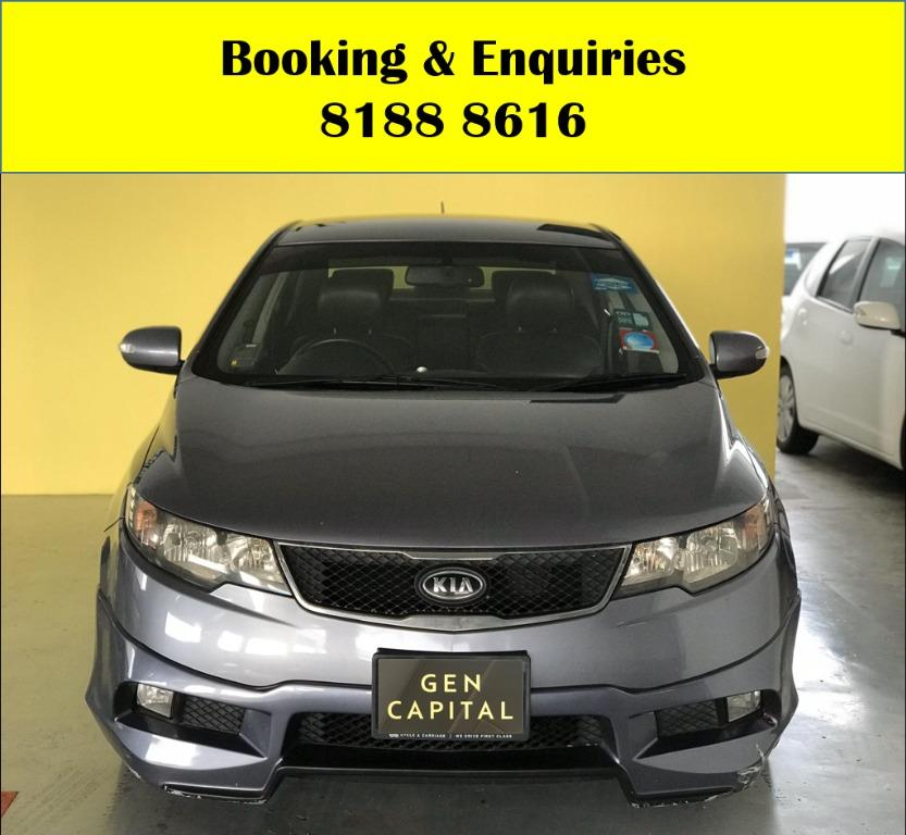 Kia Cerato HAPPY SUNDAY!! Most Reliable & Cheapest Car rental in town with just $500 Deposit driveoff immediately. FREE Petrol Voucher &  FREE rental for new signup contracts. Fuel Eficient & Spacious car. Whatsapp 8188 8616 now to enjoy special rates!!