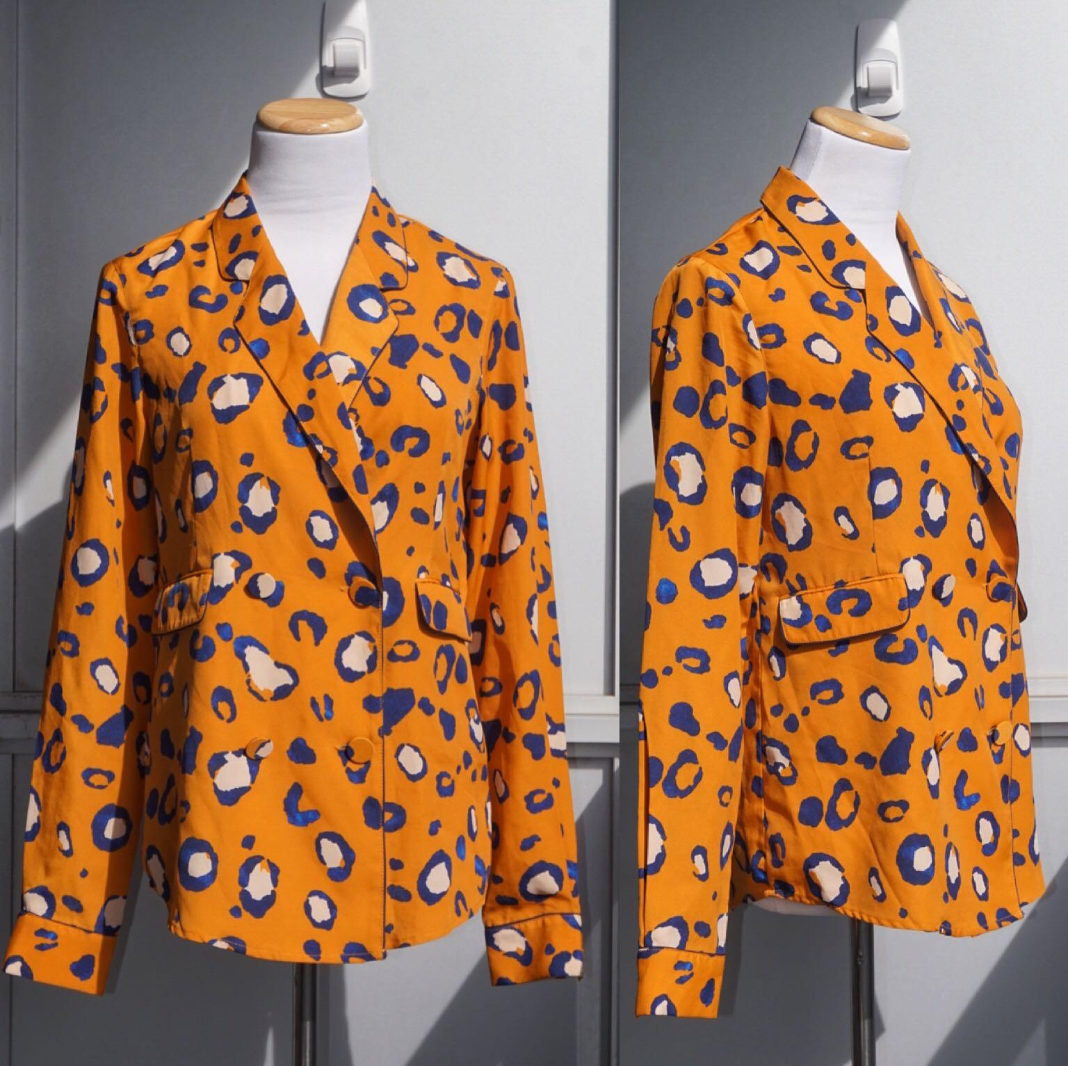 *Like New* 3.1 Phillip Lim For Target Orange Blue Leopard Tuxedo Style Blouse Size XS