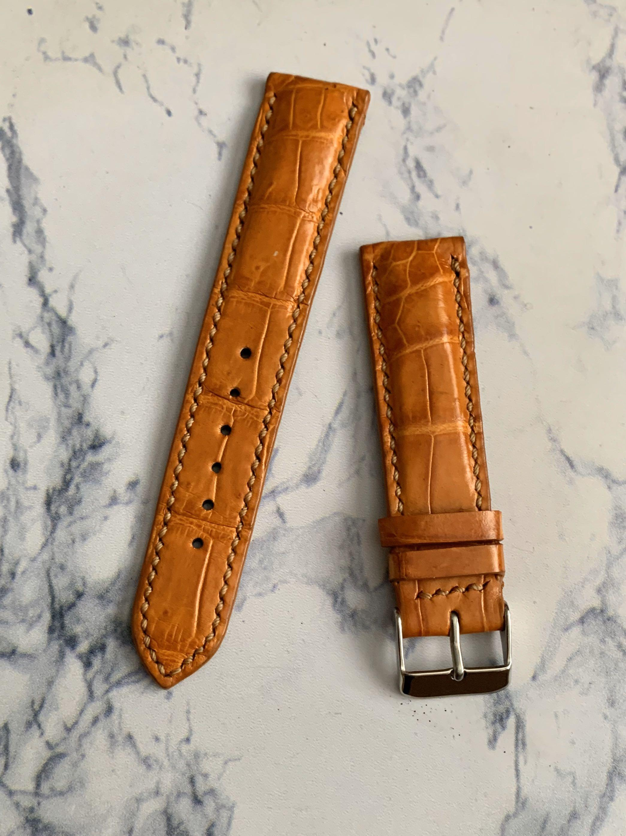 20mm/18mm Authentic Golden Sunrise Brown Crocodile 🐊 Alligator Watch Strap  (smooth croc belly)  Standard Length- L:120mm S:75mm