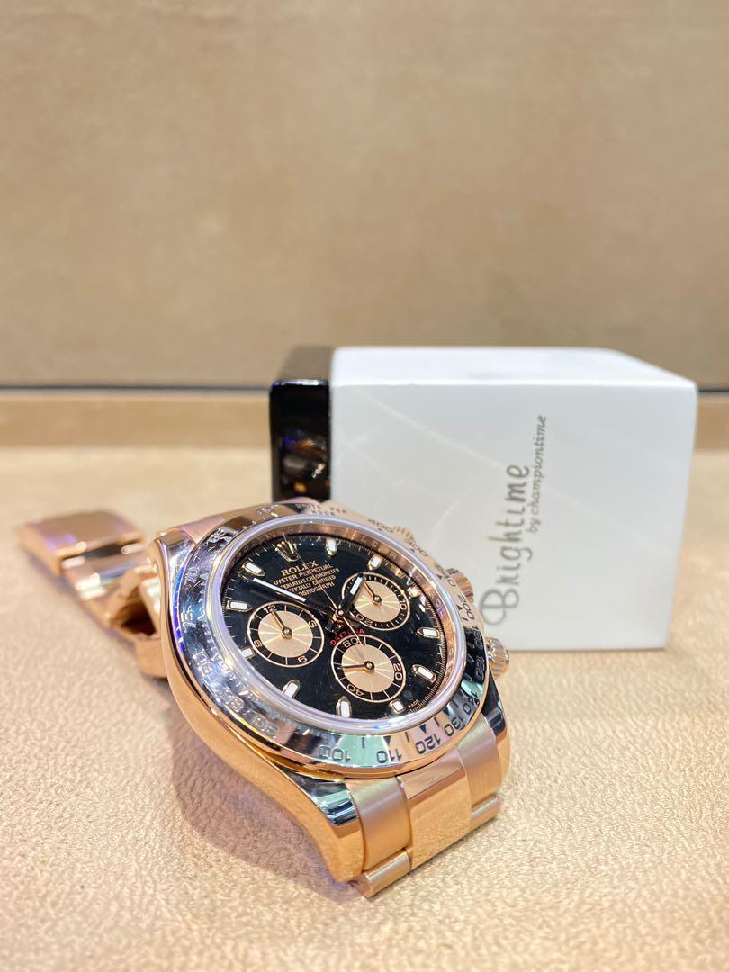 Pre Owned Rolex Oyster Daytona 116505 Black Dial Automatic Everose Rose Gold Casing Bracelet