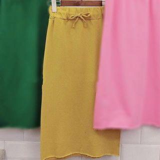 全新轉賣 單邊側開叉鬆緊腰黃色棉裙