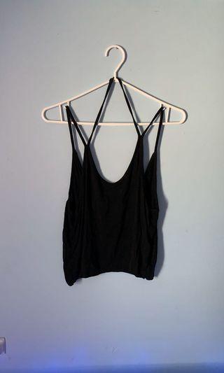 Brandy Melville Black Crop Halter/Shoulder Tank top