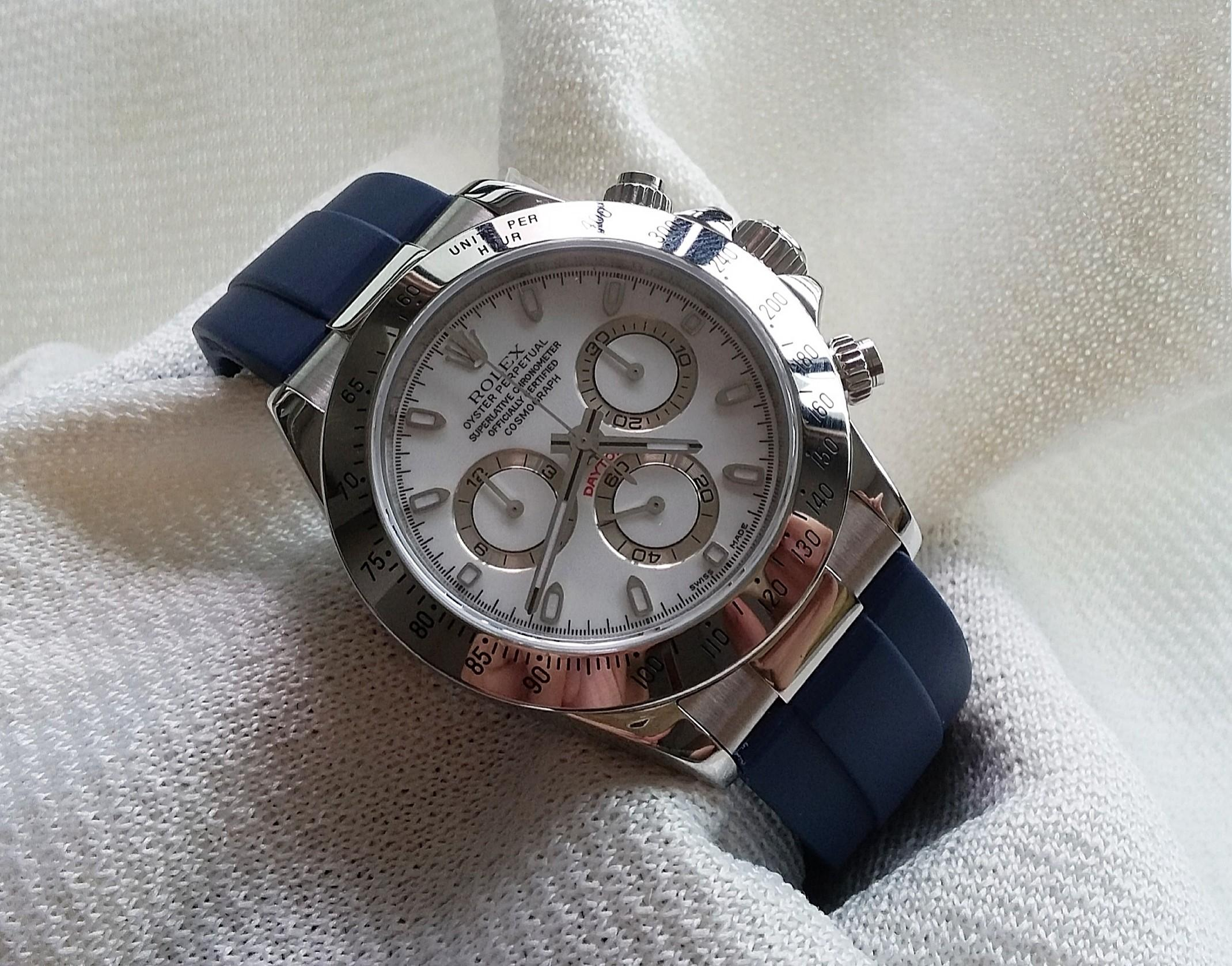 20mm BLUE RUBBER OR LEATHER  STRAP W STAINLESS STEEL ENDLINK & CLASP FIR ROLEX DAYTONA (PRICE INCLUDES FITMENT)