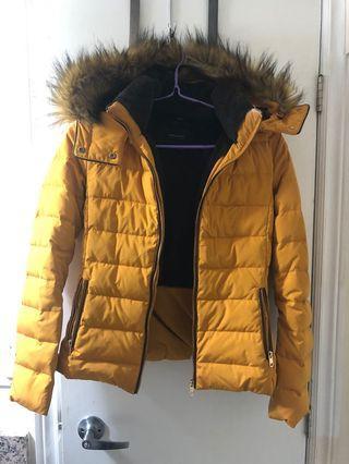 Mustard Yellow Jacket w Fur Trim
