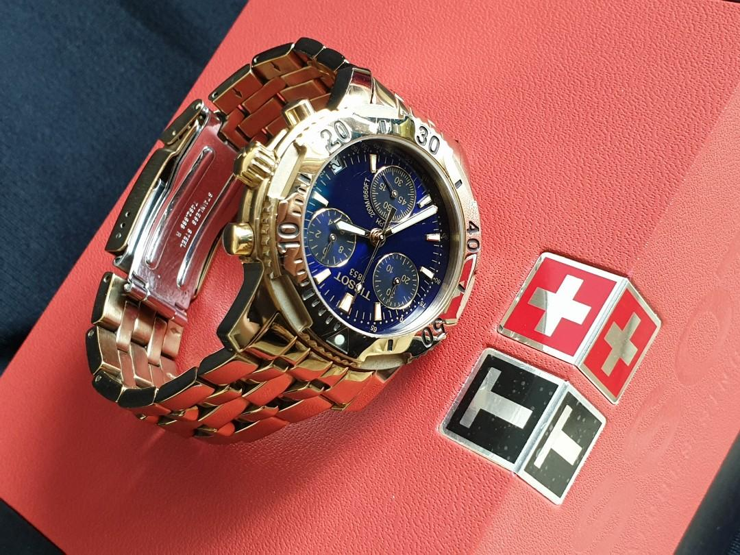 ($259 Cash & Carry) Gorgeous and Solid TISSOT PRS200 Chronograph Gold/Blue Dial Stainless Steel