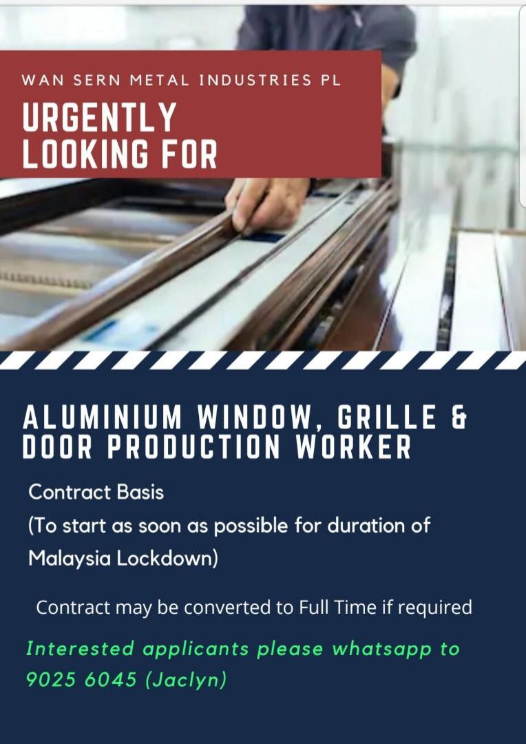 Aluminium Window, Grille and Door Production Worker