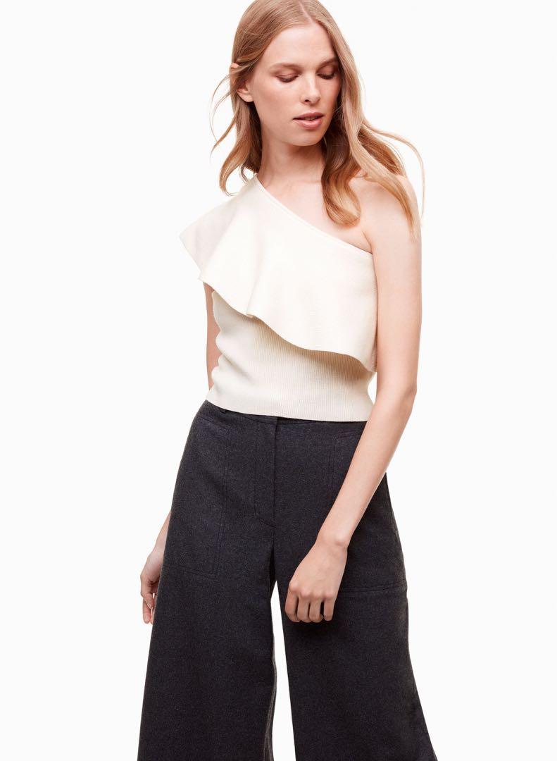 Aritzia Wilfred Georgine Knit Top in Avorio Size XS