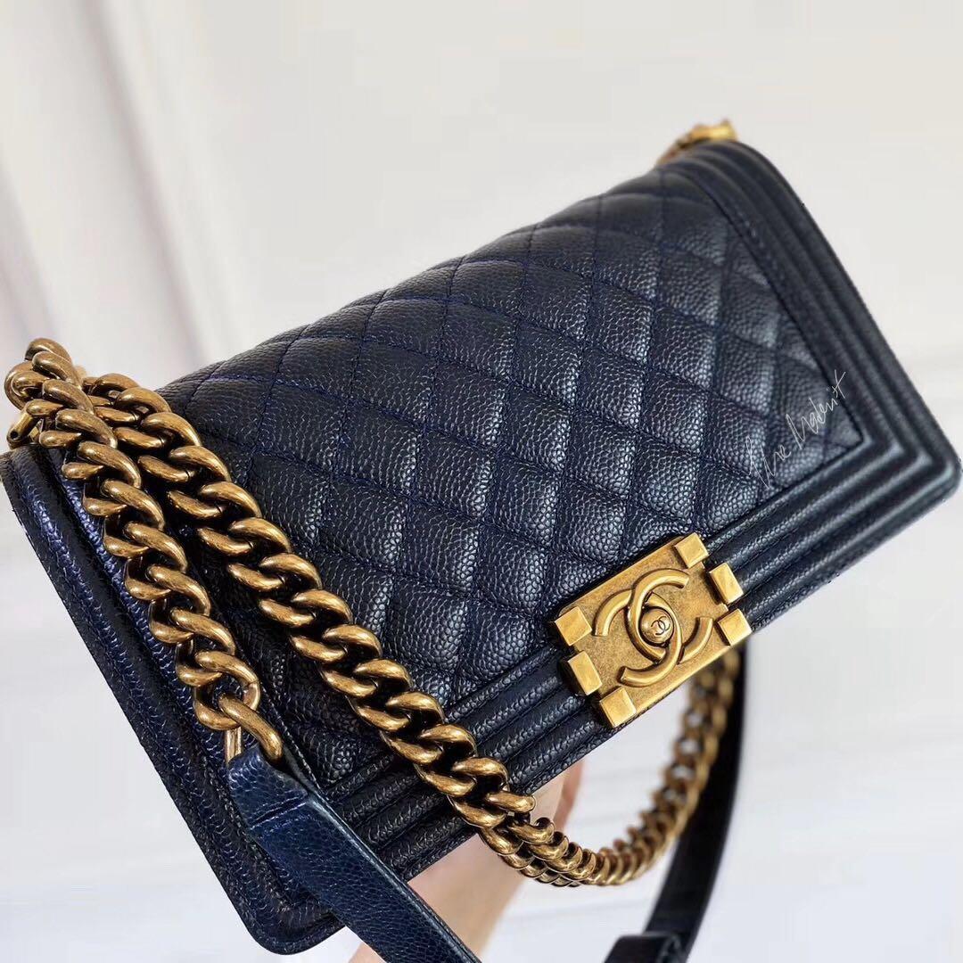 Authentic Chanel Medium Le Boy Bag Dark Blue Caviar Leather Aged Gold Hardware