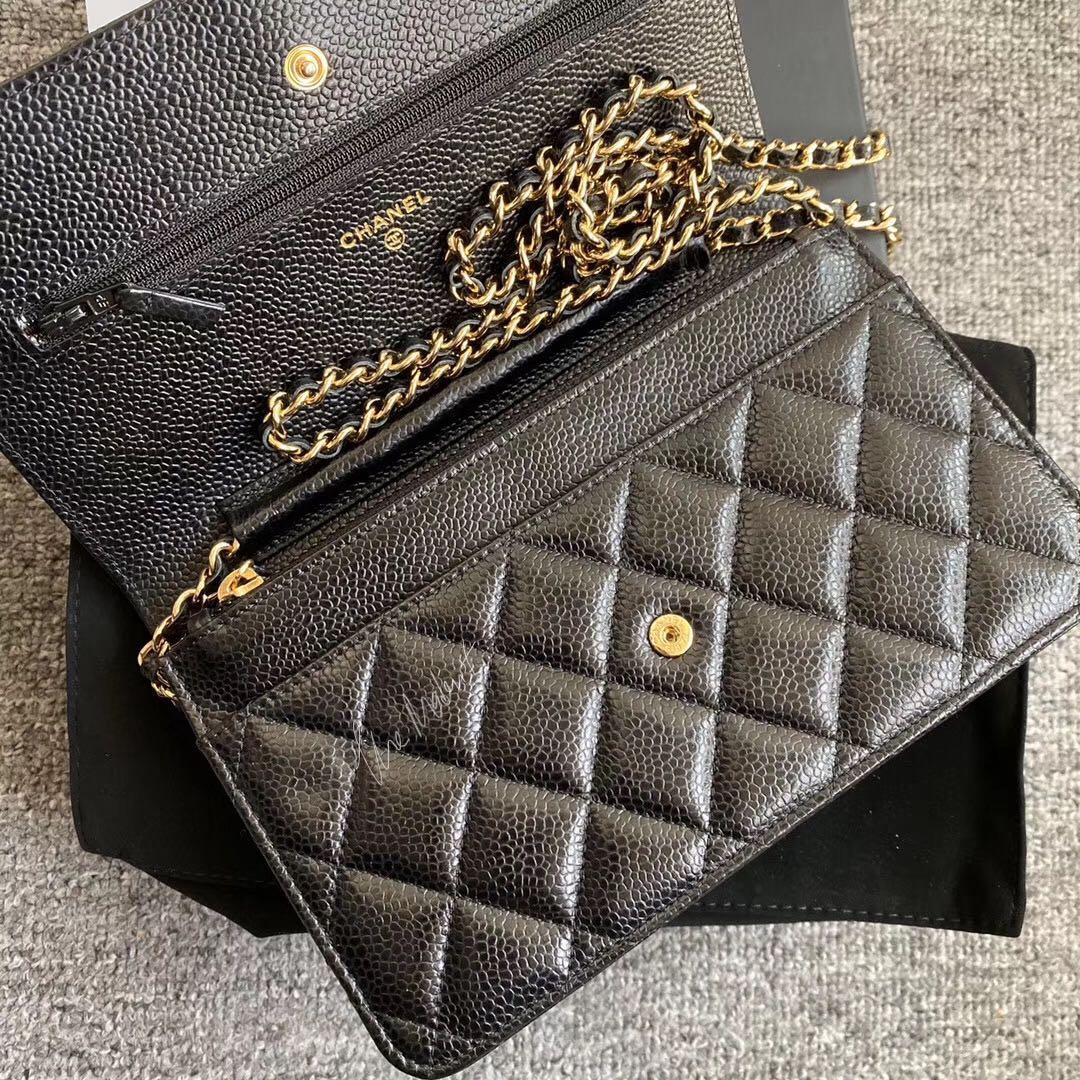 Authentic Chanel Wallet On Chain WOC Black Caviar Leather Gold Hardware