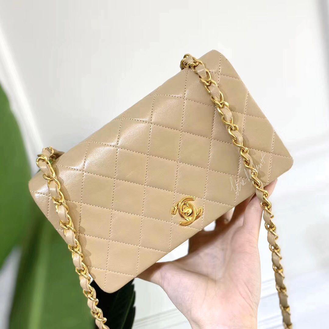 Authentic Vintage Chanel Wallet On Chain Flap Bag Beige Lambskin Gold Hardware