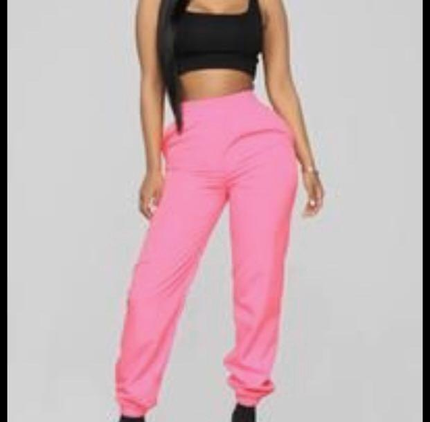 Black and neon pink high waisted windbreaker joggers