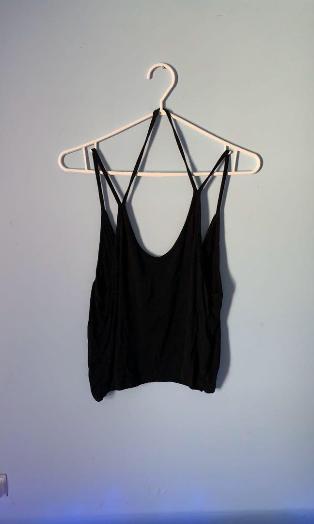 Brandy Melville Black Crop Halter/Shoulder Tank top