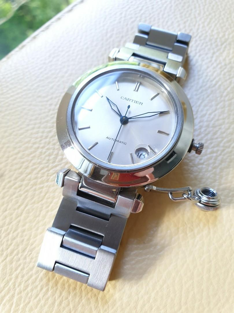 Cartier Pasha Silver Dial Date Stainless Steel Ladies 35mm                                                Rolex Tudor Cartier Omega Iwc AP Chopard Tag Heuer