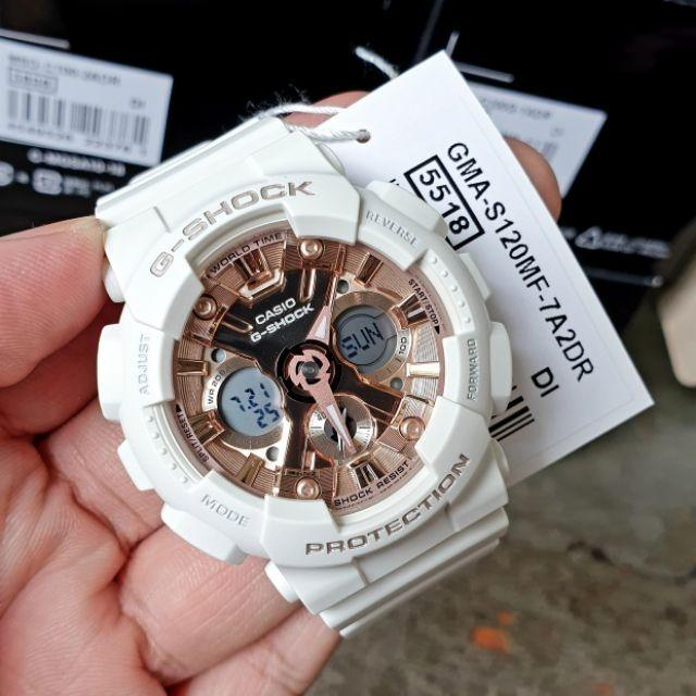 Casio GMA-S120MF-7A2 Unisex G-Shock Analog Digital Sporty Design Classic White Resin Band Rose Gold Dial Original Watch GMA-S120MF
