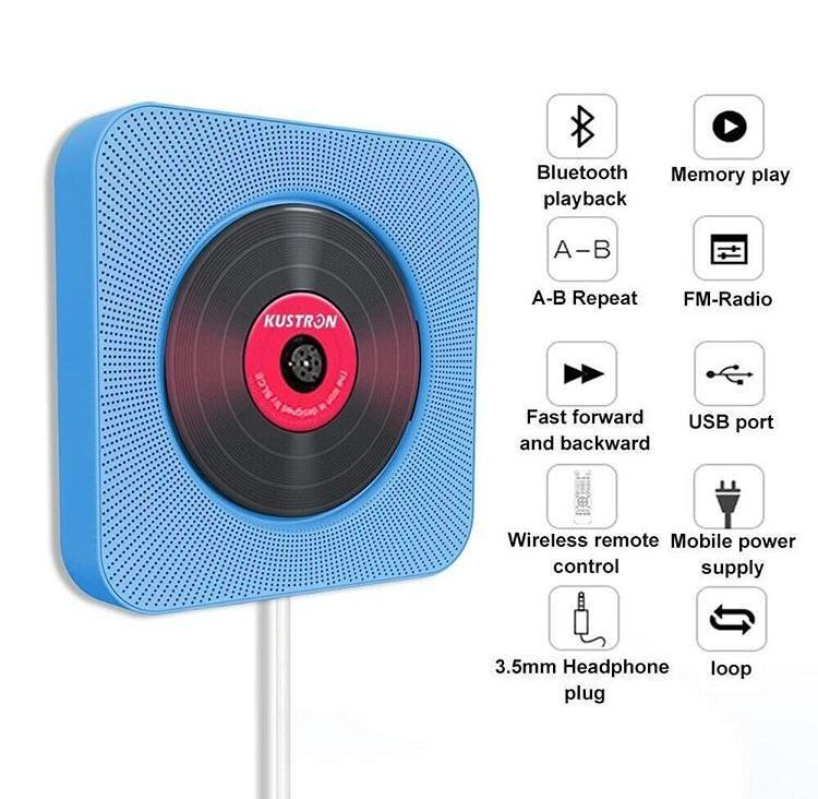 CD Player Wall Mountable Bluetooth Home Audio With Remote Control HiFi Speakers
