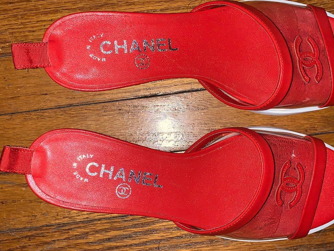 Chanel Transparent/Red cruise 2019 Pvc/Lambskin Cc Mules/Slides