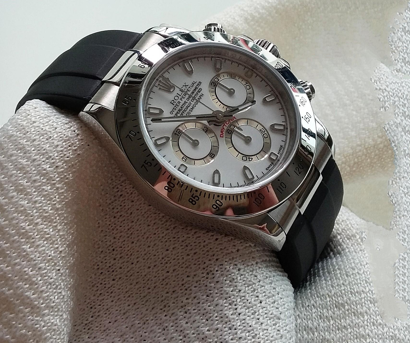 20mm BLACK RUBBER OR LEATHER  STRAP W STAINLESS STEEL ENDLINK & CLASP FIR ROLEX DAYTONA (PRICE INCLUDES FITMENT)