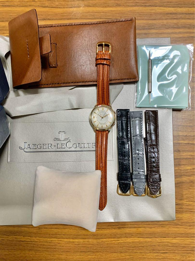 Authentic Jaeger LeCoultre Very Rare Jumbo 38mm Memovox Alarm JLC Calibre P815 10K Carat Gold Filled (with JLC box, leather pouch, gift bag, tool, 4 straps, cloth) 43mm lug-to-lug. Size suitable for ladies and men.