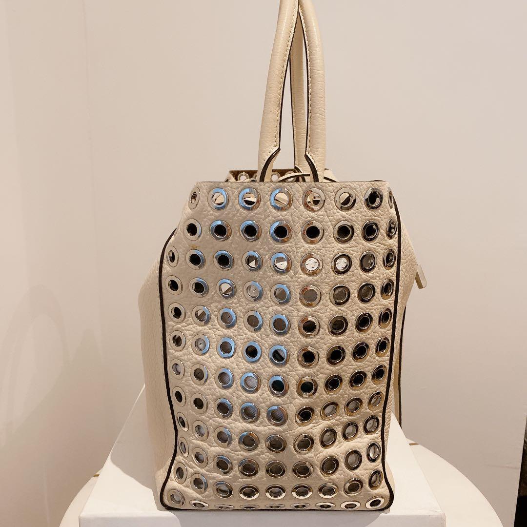 Michael Kors Collection Ivory Miranda Leather Tote Bag