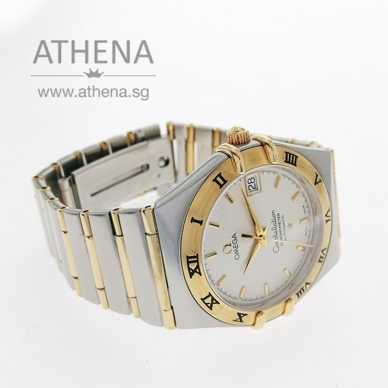"""OMEGA HALF-GOLD MEN CONSTELLATION 95 CHRONOMETER AUTOMATIC """" CREAM DIAL"""" WITH BOX & CERT 1202.30.00 WLWOG_143"""