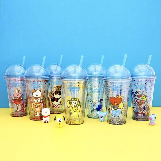 [PREORDER] OFFICIAL BT21 GLITTER ICE CUP TUMBLER WITH STRAW